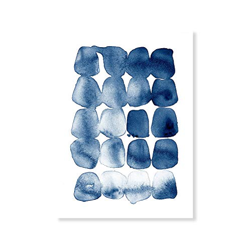 Laminas Decorativas   Modelo Acuarela   Puntos Azules   Marco Blanco   con Passepartout Blanco   Decoración Hogar   Laminas Decorativas para Enmarcar   Laminas para Cuadros   30x40cm