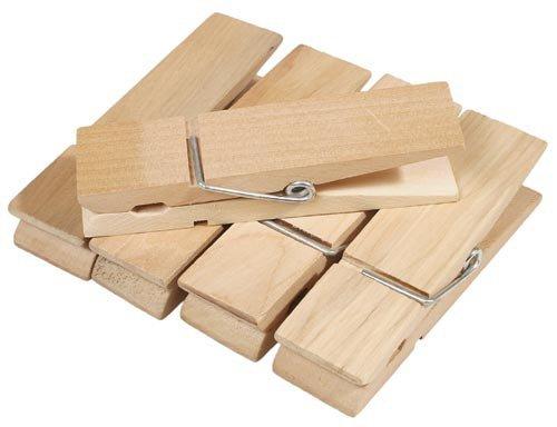matches21 Große Wäscheklammern aus Holz Naturfarben 10 Stk. Je 3x12 cm für Geschenkverpackungen Adventskalender etc.