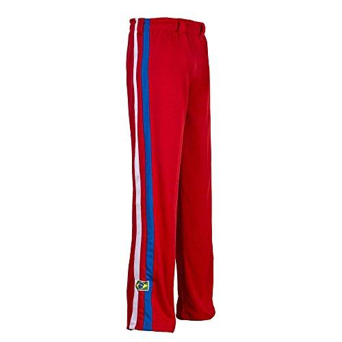 JL Sport Autentico Pantaloni Brasileiana Capoeira Arti Marziali degli Uomini (Rosso con Le Verticali Bein Righe Bianche E Blu) - XS