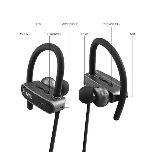 AYL Ultimate AU14 Bluetooth Wireless Headphones – Waterproof & Sweatproof Universal Hands-Free Earbuds, Secure Noise Cancelling Running Cordless Earphones, Tangle-Free Neckband & Long Battery Life