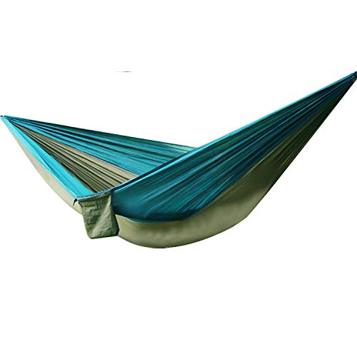 LightweightDoubleHammock Swing with Storage Bag + Strap,300kg Load Capacity (300x200cm) Dark Green Camping Hammock With Tarp for Hiking, Backpacking, Beach, Garden