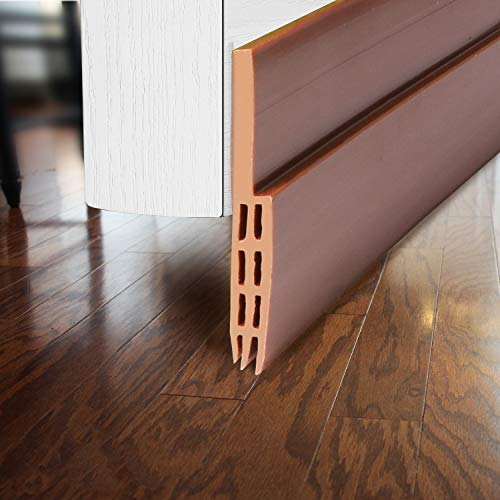 BAINING Door Draft Stopper Sweep, Silicone Door Seal Strip, Under Door Noise Blocker, with 3M VHB Adhesive Backing, 2' W x 39' L, Brown