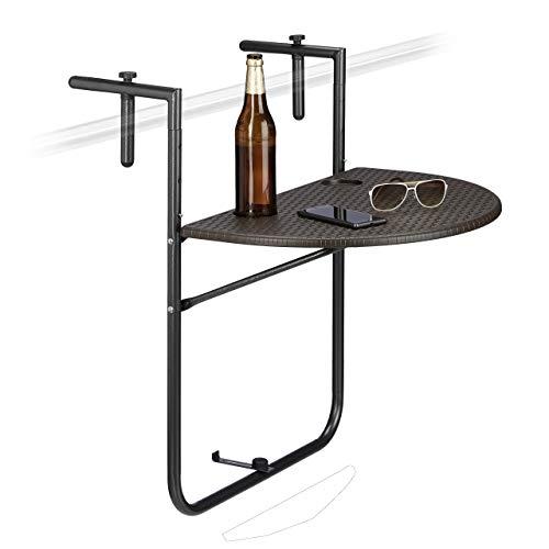 Relaxdays Balkonhängetisch BASTIAN klappbar, 3-fach höhenverstellbarer Klapptisch, Tischplatte B x T: 60 x 40 cm, braun