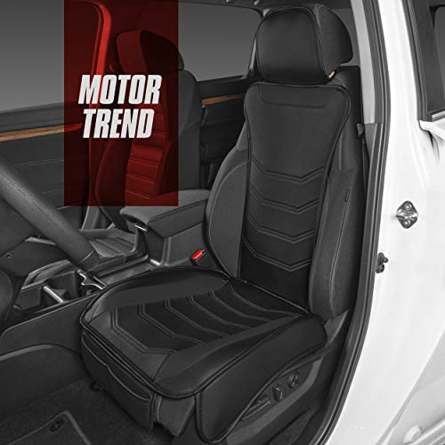 Motor Trend MTSC-9210-BK LuxeFit Black Faux Leather Car Seat Cover for Front Seats, 1 Piece – Padded Universal Fit Luxury Cover, Faux Leather Sideless Protector for Car Truck Van & SUV
