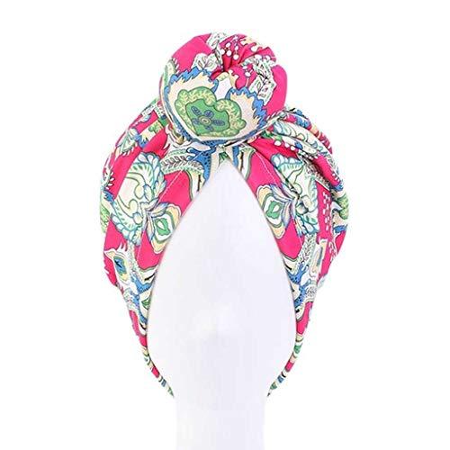 DYXYH Cap coloración del Cabello Diadema Styling India Dona Haircaring Turbante Sombrero de Chemo algodón de Las señoras satén de la Manera Dot Cimera del Capo (Color : A)