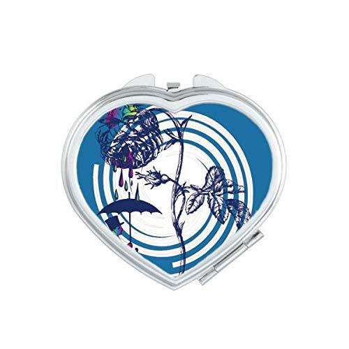DIYthinker Les Feuilles des Plantes Rose Parapluie Chapeau Fleur de Coeur Maquillage Miroir Compact Portable Mignon Miroirs de Poche à la Main Cadeau Multicolore