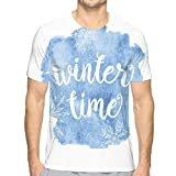 AIQIIA Mens 3D Printed T Shirts,Winter Time Typographic Design Hand Drawn Style Phrase Blue Watercolor Spot L