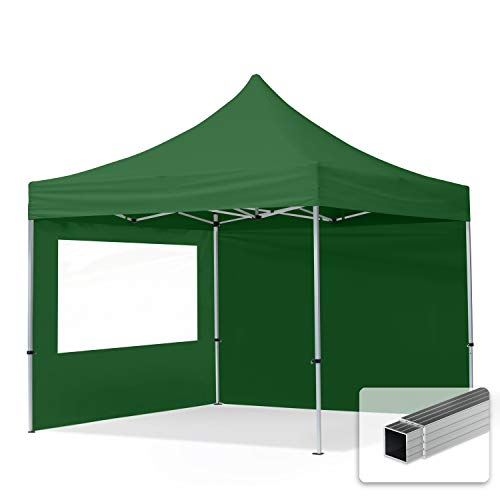 TOOLPORT Faltpavillon Faltzelt 3x3m - 2 Seitenteile 32mm ALU Pavillon Partyzelt PES300 100% WASSERDICHT grün