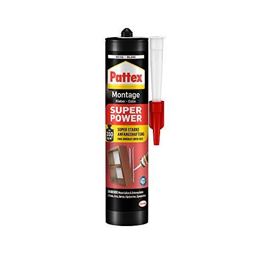 Pattex Montagekleber Super Power, Baukleber mit superstarker Anfangshaftung, Kraftkleber für saugende Materialien, Kleber für innen & außen, 1 x 370g