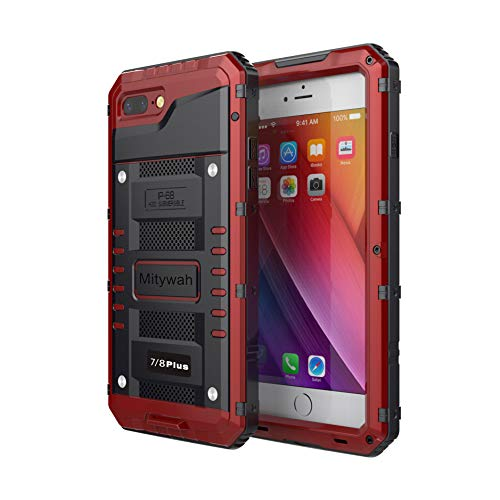 Mitywah Waterproof Case for iPhone 7/8 Plus, Heavy Duty Military Grade Armor Metal Case, Full Body Protective Shockproof Dustproof Strong Rugged Thick Case for iPhone 7/8 Plus, Red