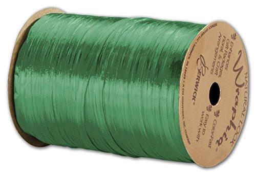Solid Raffia - Pearlized Wraphia Kelly Green Ribbon, 1/4' x 100 Yds (3/pack) - BOWS-263-2-5