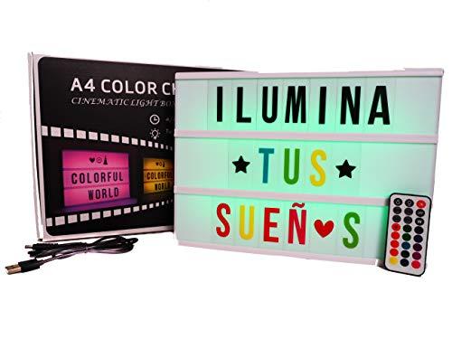 Caja de luz A4 MULTICOLOR con 215 tarjetas.10 láminas por fila. Cartel luminoso vintage para decorar habitacion, negocio, fiesta.