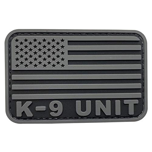 uuKen Black and Gray K9 Patch Service Working Training Dog Tactical PVC 3x2 inches Hook Fastener USMC Army US Flag Patch (Gray, S3'x2')