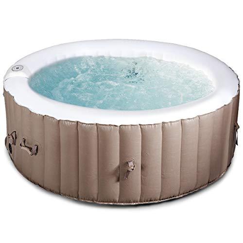 COSTWAY Whirlpool aufblasbar, Massage Spa Pool, mit Heizfunktion, 4 Personen, Ø180cm, rund