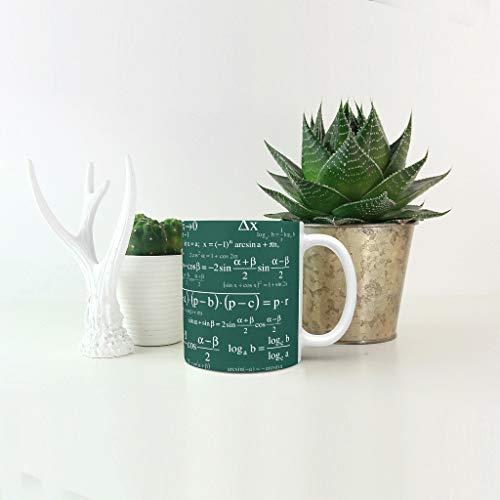 Lind88 Grappige Math Formulas Brouwen Koffiebeker met Handvat Keramische Retro Stijl Mokken - Wit Krijt Vrienden, Pak voor Restaurant gebruik (11 OZ)