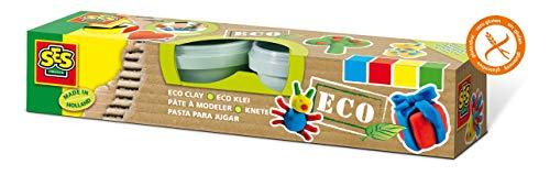 SES Creative 24911 Knete ECO 4 Farben Knetmasse, Mehrfarbig