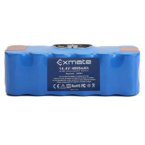 Exmate 4.8Ah Batterie pour Roomba, 14.4V 4800mAh Batterie étendue 1200 Cycles pour Roomba Série 500 600 700 800