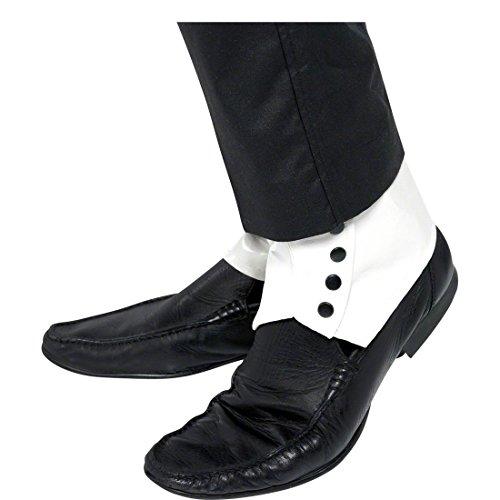 NET TOYS Guêtres années 20 Blanches Accessoire pour Chaussures Blanc Mafia Gangster Accessoire Chaussure guêtre Accessoire pour déguisement de Truand
