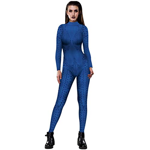 CNMD Damen Halloween Kostüm Movie Print Bodysuit Skinny Catsuit Jumpsuit H-M