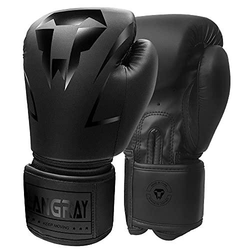 Guantoni da Boxe, LangRay Guanti da Allenamento in PU per Adult Boxing Equipment Guanti Boxe Stile Professionale Guantoni da Boxe da Allenamento per Muay Thai Taekwondo Sanda Fight,Nero 10oz