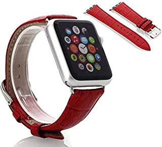 Crocodile Skin Leather Wristband Strap For Smart Watch 38mm - Red