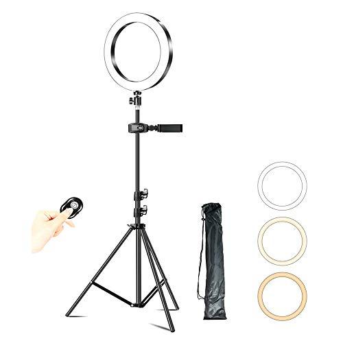 Dimbare LED Selfie Ringlamp 26 CM, Vullicht Met Statief En Bluetooth Afstandsbediening, Geschikt Voor Fotografie, Video, Makeup,1.7 m