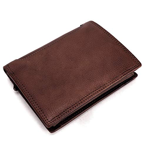 FEI STUDIO Men & Women Vintage Genuine Leather Wallet RFID Blocking Bifold Purse Card Organizer