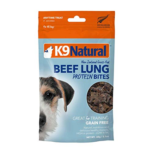 K9 Natural Grain-Free Air Dried Dog Treat Protein Bites, Beef Lung 2.1oz