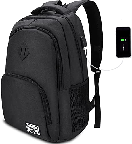 YAMITON Premium Rucksack mit Laptopfach und USB Ladeanschluss - Business Herren Rucksack für Laptop 15,6 Zoll für Arbeit Studium Schule Wandern Camping und Reisen 35L
