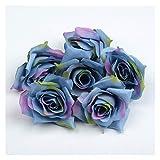 HETHYAN Flor artificial de seda de 4 cm, cabeza de rosas de boda, fiesta, decoración del hogar, manualidades, álbum de recortes, 50 unidades (color: azul profundo)