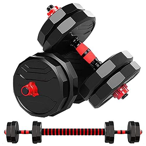 MOJEER ダンベル 可変式【最新進化版・3in1】10kg 20kg 30kg 40kg 2個セット12角形構造 バーベルにもなる ダンベル 無臭素材 静音JX (5kg×2個セット/redCP)