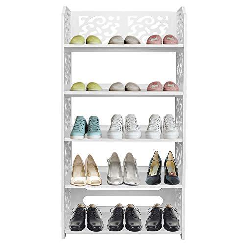 Zjcpow Zapatero de 5 niveles de madera blanca de plástico para zapatos, organizador de almacenamiento para sala de estar