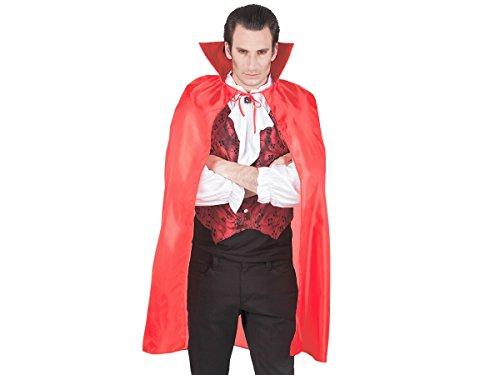Cape de diable vampire ou sorcière en satin rouge (96921) Taille Unique pour adultes ou ados à partir de 14 ans. Déguisement pour soirées Halloween vénitienne, Versailles...