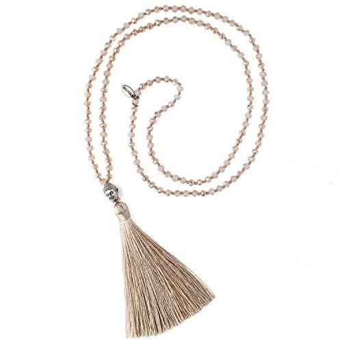 KELITCH Natürlichen Kristall Silber Buddha Kopf Perlen Quaste Schichtung Halskette Handgemachte Mode Wrap Schmuck (Khaki)