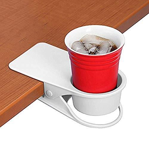 BYBOT Getränkehalter Clip - Tisch Schreibtisch Seite Flasche Cup Stand Wasser Kaffeetasse Halter Untertasse Clip Design für Home & Office (weiß)