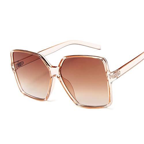 NXMRN Gafas De Sol Gafas De Sol Cuadradas De Gran Tamaño Para Mujer, De Moda, Parte Superior Plana, Marrón, Negro, Lente Transparente, Una Pieza, Espejo De Sombra Para Mujer, Uv400-champán