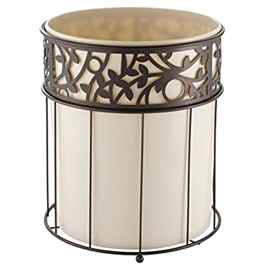 mDesign Decorative Round Small Trash Can Wastebasket, Garbage Container Bin for Bathrooms, Powder Rooms, Kitchens, Home Offices - Vanilla Plastic, Steel Wire frame in Bronze Finish