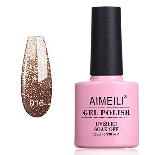 AIMEILI UV LED Gellack ablösbarer Nagellack Glitzer Gel Polish - Tinsel Toast Gold Diamond (016) 10ml