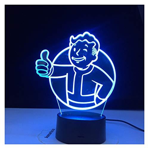 Ysguangs 3D-Illusionslampe Spiel Fallout Shelter Logo 3D LED Nachtlicht for Kinder Kind Schlafzimmer Dekoration Coole Ereignis Nachtlicht Bunt (Color : with A Controller)