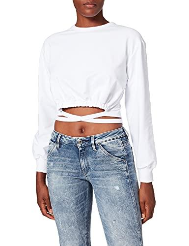 NEON COCO Tie-Waist Crop Sweatshirt Felpa, Bianco (White C12), 42 (Taglia Produttore: Large) Donna