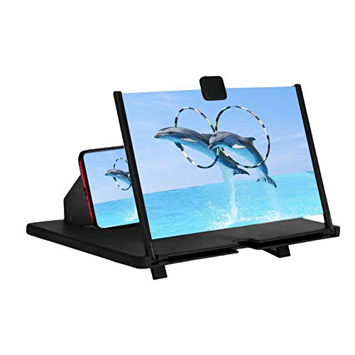 12' Screen Magnifier For Cell Phone -3D HD Magnifing Projector Screen Enlarger For Movies, Videos And Gaming – Foldable Phone Stand Holder With Screen Amplifier–Compatible With All Smartphones (Black)