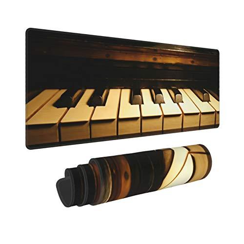 Extra Groß Mauspad mit Genähten Kanten,XXL-90 x 40 x 0.3cm,Klavier,Schreibtisch Mat Personalisiert für Die Arbeit Spiel Büro Computer Laptop
