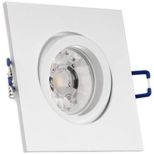 LEDANDO Einbaustrahler Set für Spanndecken Weiß matt 7W Dimmbar Eckig LED GU10 Deckenstrahler - Spots - Deckenspots - Deckspot