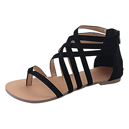 Sandalias planas para mujer con punta de clip y tirantes cruzados, zapatos de playa con tacón bajo en forma de almendra, zapatos romanos, de moda de verano