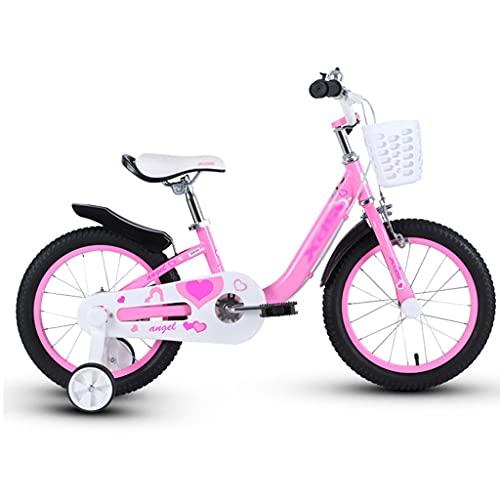 """ZXQZ Bicicleta Infantil Rosa para Niña En Tamaño 14 """"/ 16"""" con Estabilizadores y Canasta. (Size : 14 Inches)"""