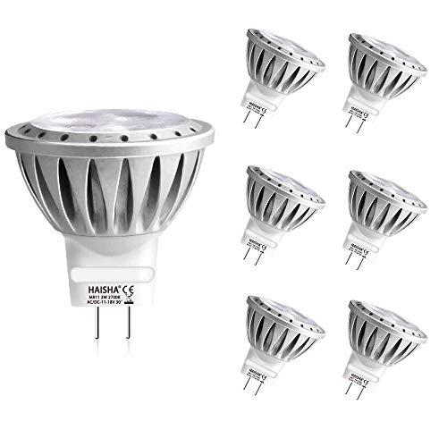 HAISHA GU4 MR11 LED Lampen 3W, Ersetzt 25W 35W Halogenlampen, AC/DC 12V, GU4 Sockel, LED Spotlight, WarmWeiß 2700K, 250lm, 30 Grad, Wärmeableitung aus Aluminium, Kein Flimmern, nicht dimmbar, 6 Stück