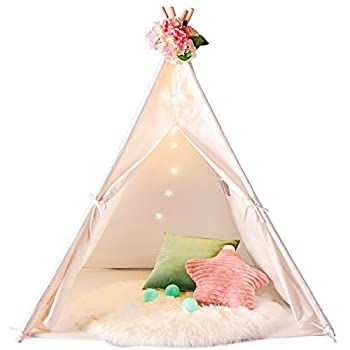Senodeer Teepee Tent for Kids with Bunting Banner & Feathers & Carry Bag Kids Teepee for Indoor and Outdoor Use Toys for Boys and Girls Kids Gifts for Birthday and Party  Tipi with Feathers
