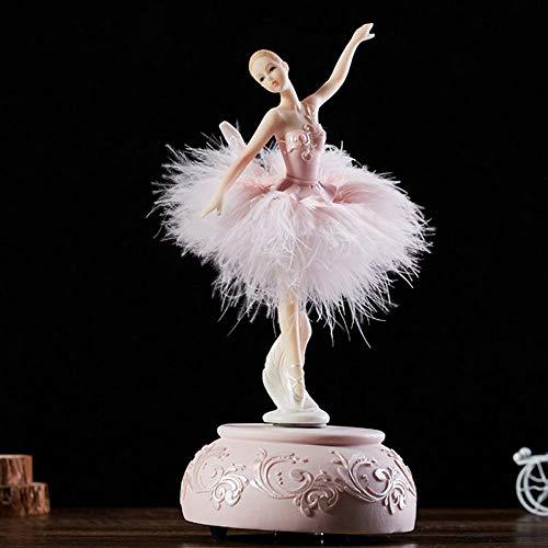 MENGYANLI für Thanksgiving Elegant und verfeinert Ballerina Tanz Karussell Spieluhr Barbie Feder Spieluhr DIY Hochzeit Geburtstagsgeschenk für Mädchen