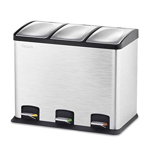 Velaze Cubos de Basura, Basureros Reciclajes de Acero Inoxidable Contenedores de Residuos para Oficina, Baño y Cocina (12L x 3)