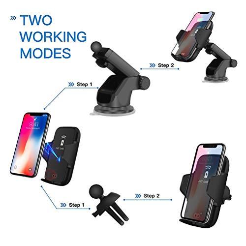 Hihey draadloze oplader voor de auto, QI inductieve auto-oplader met houder voor mobiele telefoon voor iPhone 8/8 Plus/iPhone X/Samsung Galaxy S9 +/S9/S8/S8 Plus/S7 Edge/S6/Note 8/Note 5, enz.